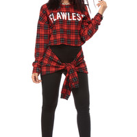 Plaid Stylish Tie Over Black Leggings