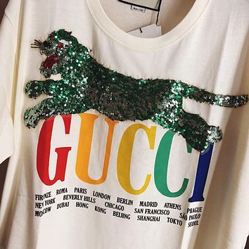Gucci Cities T-shirt with tiger