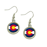 Colorado State Flag Dangle Drop Silver Charm Earrings