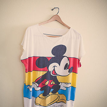 Vintage 90's Mickey Mouse T Shirt Tee Oversized Jumper Red Blue Yellow Collectors #12 Disney Character Fashions Unisex Large Boat Neck