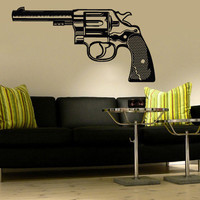 Wall Decal Vinyl Sticker Decals Art Decor Gun revolver pistol handgan Gift Mans Father Hunter Army Weapon Sniper Rifle Bedroom ( r837)