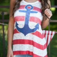 Multi Color Striped Anchor Printed Tank Top