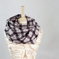 Plaid Infinity Scarf, Flannel Circle Scarf, Off White Red Black Plaid, Fashion Cowl, Womens Scarves, Fall Infinity Scarf