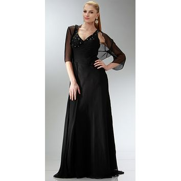 ON SPECIAL LIMITED STOCK - Black Chiffon Beaded Mother of Bride Dress Tank Strap Bolero Jacket