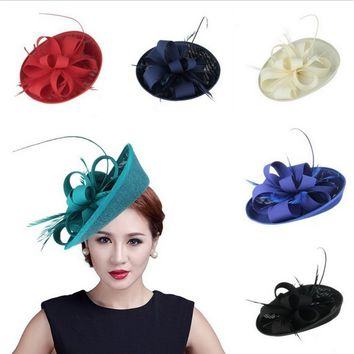 Hairpins for Women Costume Party Hair Accessories Elegant Feather Fascinator Mini Top Hats Fancy Hair Clip