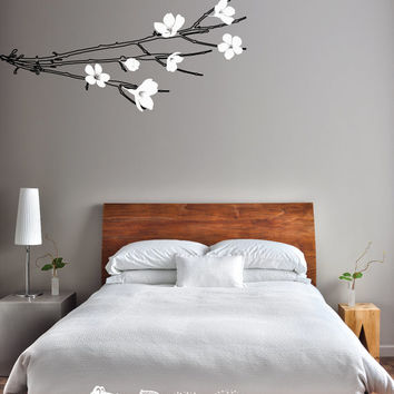 Wall Decal - Branch with Flowers or Leaves - Beautiful, Modern Style [011]