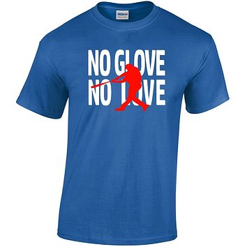Boys Baseball Shirts; No Glove No Love Youth Short Sleeve Baseball T shirts
