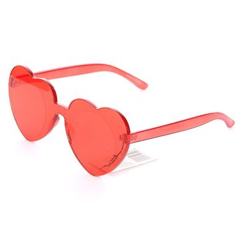 Red Heart Shaped Rimless Sunglasses