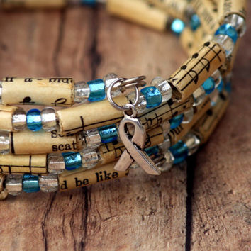Ovarian Cancer Awareness Bracelet - Vintage Hymnal Beads with Teal and Clear Glass Beads Spiral Wrap Bracelet - Memory Wire Bracelet