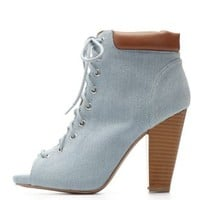 Lt Blue Qupid Denim Peep Toe Lace-Up Booties