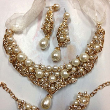 Custom order for Mary--- 5 bridesmaid pearl crystal necklaces , gold necklace jewelry