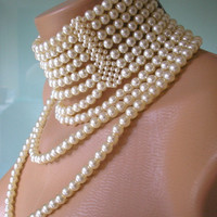Statement Necklace, Great Gatsby Jewelry, Runway Necklace, Art Deco, Choker Necklace, Pearl Collar, Bridal Jewelry, 1920s, Downton Abbey