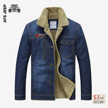Men Denim Jacket Fleece Thick Warm Fashion Casual Cotton Cowboy Blue Jacket Coat Winter Warm Parka Coat