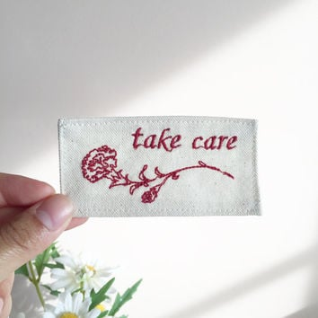 handmade embroidered red rose patch // take care | tender | go away | hold me | stay strong
