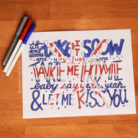 Kiss You Lyric Drawing by samonstage on Etsy