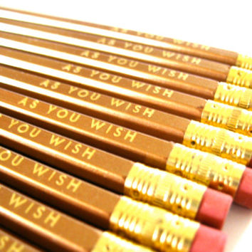6 PENCILS - gold as you wish - GRAPHITE hex valentine pencils w/ hand-stamped kraft pencil box - Princess Bride quote