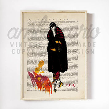 Vintage Fashion Sketch, 1929 Art Deco, Stylized Red Paint Splash Print on an Antique Unframed Upcycled Bookpage
