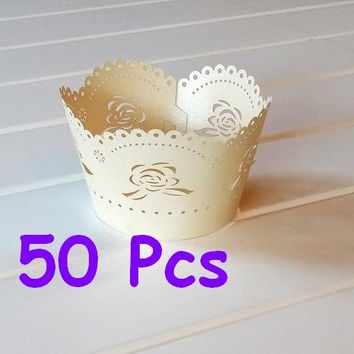 Stencil classic rose laser cut wrapper fancy white flower wrap rose Cupcake Wrappers handmade cake wrapper wedding party wraps collars