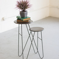 Two Tiered Metal Accent Table