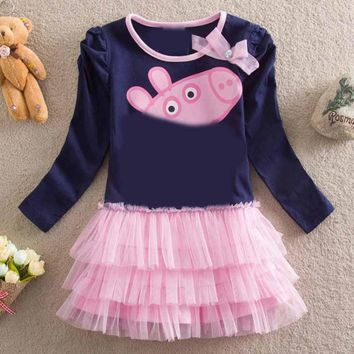 classic new baby girls long sleeve clothes tutu dress printing cartoon pig children cotton kids clothing long sleeve girls dress