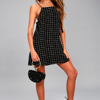 Style Points Black Grid Print Swing Dress