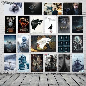 Winter Is Coming Retro Custom Sign Game of Thrones Wall Sticker Home Decor For Bar Pub Cafe House Tin Plaque Metal Poster YQZ078
