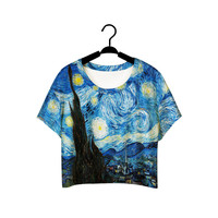 F978 Summer Harajuku Style Girls Van Gogh Leisure Crop Top  Graffiti Painting Women Vintage T-shirt Casual Tee