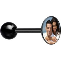 Custom Photo Black Anodized Barbell Tongue Ring