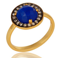 14K Yellow Gold Plated Sterling Silver Blue Aventurine And CZ Stackable Ring