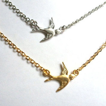Silver or Gold Sparrow Necklace, Yoga Jewelry, Layering necklace, mother, wife, sister, daughter, Yoga Necklace, layered,  wedding jewelry