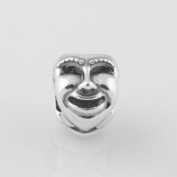 Authentic S925 Stamped Sterling Silver Theatre Drama Mask Charm Bead Fits European Pan