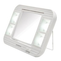 Jerdon LED Lighted Makeup Mirror with 5x Magnification, White Finish