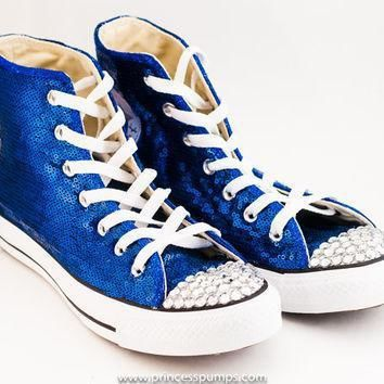 royal blue sequin converse canvas hi top sneakers shoes with rhinestoned toes