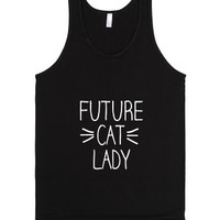 Future Cat Lady Whiskers Handwritten Design-Unisex Black Tank