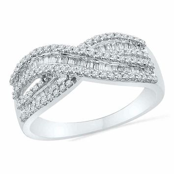 10kt White Gold Women's Round Baguette Diamond Crossover Band Ring 1-2 Cttw - FREE Shipping (US/CAN)