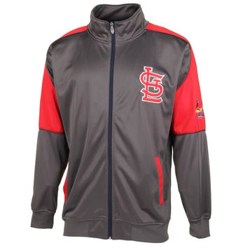 St. Louis Cardinals Majestic Full Zip Big and Tall Track Jacket - Gray