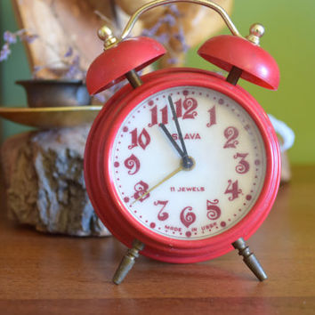 Soviet alarm clock,red vintage desk clock,ussr retro mechanical clock,home decor,wake up,table desk clock,russian vintage souvenir,1970s