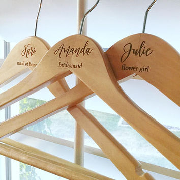 Customized Bridesmaid Title Hanger, Wedding Dress Hanger, Rustic Chic Wedding, Bride Hanger, Wood Dress Hanger
