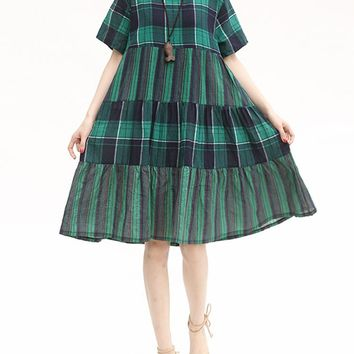 Plaid Casual Short Sleeve Cotton Dresses for Women