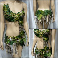 Jungle Forest Cheetah Monokini Costume Halloween