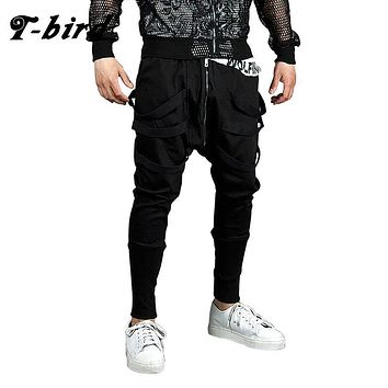 T-bird Men Casual Pants Mens Joggers Pant 2017 Brand Male Hip Hop Cotton Pants Solid Lacing Slim Tights Street Style Men's Pants