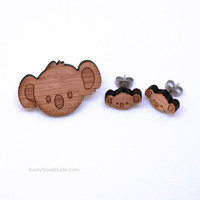 Koala Bear Brooch Cute Bamboo Pin Laser Cut Wood Wooden Jewelry Fun Animal Jewelry For Friends Sister Girlfriend Teens Her Gifts Gift Ideas