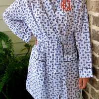Horse Bit  Bath Robe with Monogram- 100% cotton