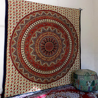 LARGE elephant mandala indian tapestry, hippie wall hanging tapestries, boho bohemian bedding throw bedspread, ethnic wall decor