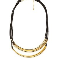 Black Tube Bead & Cord Collar Necklace by Charlotte Russe