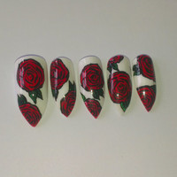 UV Gel Hand painted Rose Stiletto Press On Nails