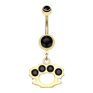 Golden Brass Knuckle Sparkle Belly Button Ring