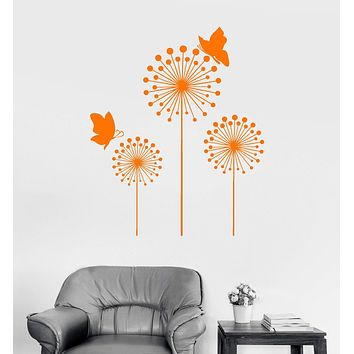 Wall Decal Beautiful Dandelion Flower Butterfly Floral Vinyl Stickers Mural Unique Gift (ig2998)