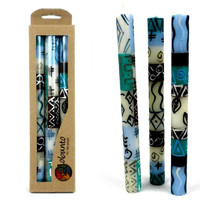 Tall Hand Painted Candles - Three in Box - Maji Design