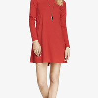 RED LONG SLEEVE ZIP BACK TRAPEZE DRESS from EXPRESS